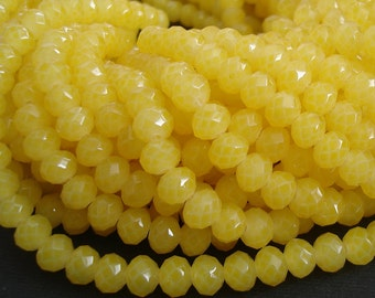 15inch-Yellow Quartz Glass Faceted Rondelle Beads...8mmx6mm..