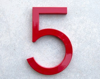 Modern House Number Aluminum Modern Font Number FIVE  5 in RED