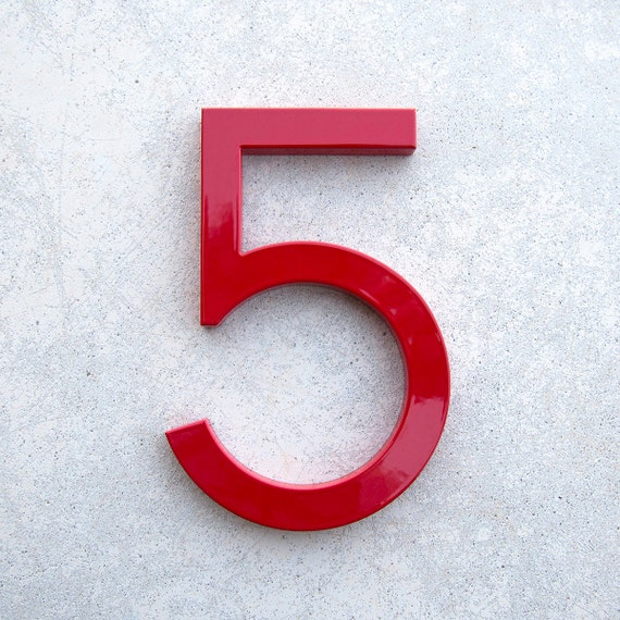 Modern house number aluminum modern font number five 5 in red for Modern house numbers