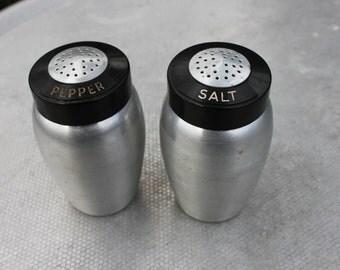 1950s Retro Aluminum Salt and Pepper Shakers