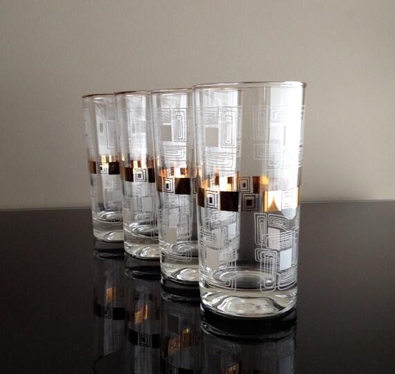 Retro Gold and White Glass Set (set of 4)