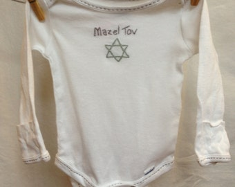 hand embroidered baby onesie, Brit Shalom or baby naming, gray, 0-3 months