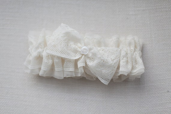 White lace garter with bow, bridal, wedding, accessory, handmade, button, chiffon