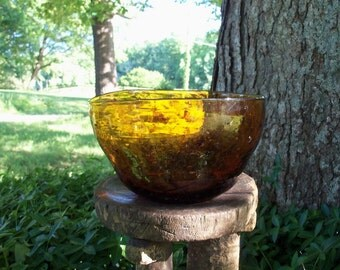 Amber Art Glass Freeform Handblown Bowl Imbedded Material Yesteryear Amazing Find