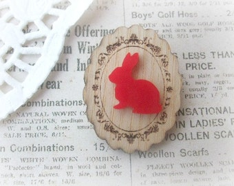 Wooden Frame with Red Bunny Brooch
