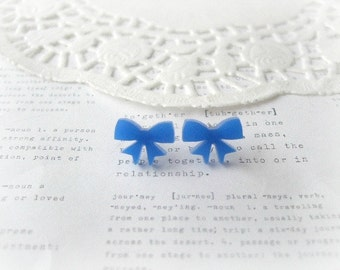 ON SALE  Blue Lasercut Bow Stud Earrings