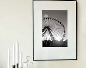 """Large Fine Art Modern Photography Black and White - Ferris Wheel -Europe Carnival - 30cmx45cm / 12""""x18"""" Size (Can also be custom sized)"""