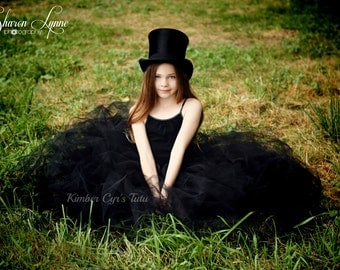 Extra Long All Black Tutu Skirts-sewn to last--infant to adult