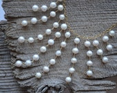 Pearl Fringe Necklace, White Freshwater Pearls, 14k Filled Gold