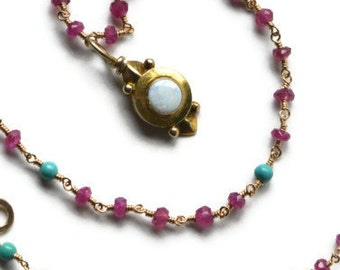 Pink Sapphire Necklace with Antique Opal Pendant, Pink Gemstones, Natural Turquoise Beads, Gold