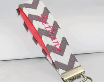 Custom made Key Fob Holder, Personalized wristlet Key chain, grey chevron and pink key fob