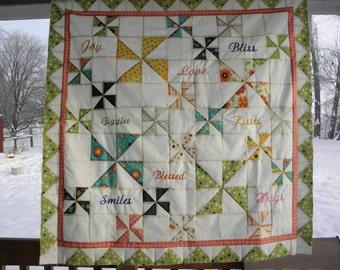 Custom Named Baby Pinwheel Quilt