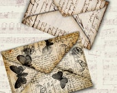 INSTANT DOWNLOAD Four Shabby Chic letters Envelopes instant download printable digital collage sheet E001
