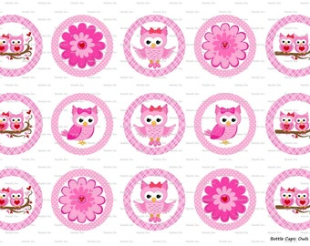 "15 Owls in Love 1 Digital Download for 1"" Bottle Caps (4x6)"