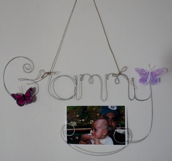Grammy Wire Word Hanging Photo Holder Picture Frame, Mothers Day Gift for Grandmother, Wire Art, Wall Art, Butterfly Decorations