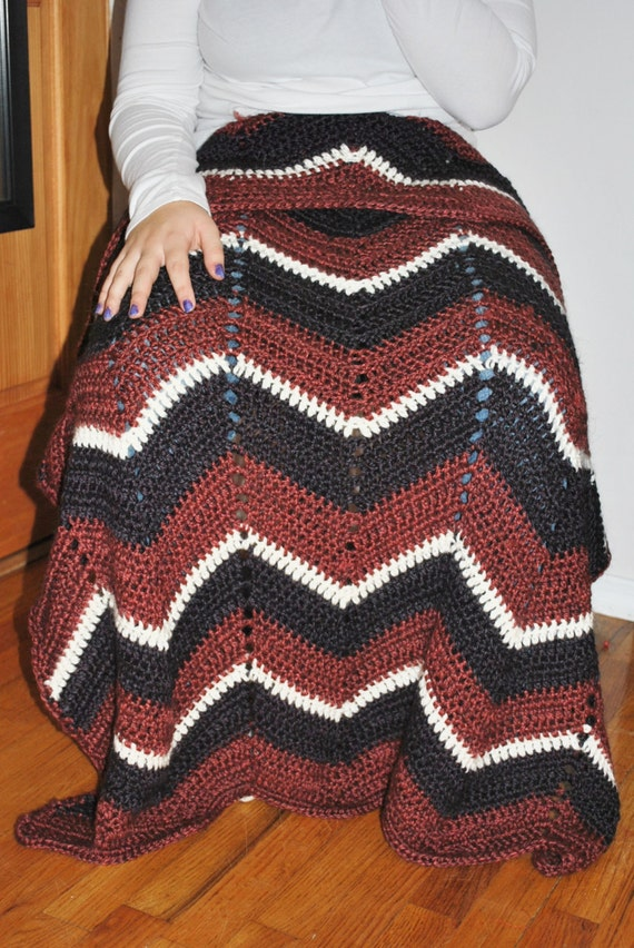 Crochet Afghan Pattern Zig Zag : Items similar to Crochet Lapghan, Small Afghan, Zig Zag ...