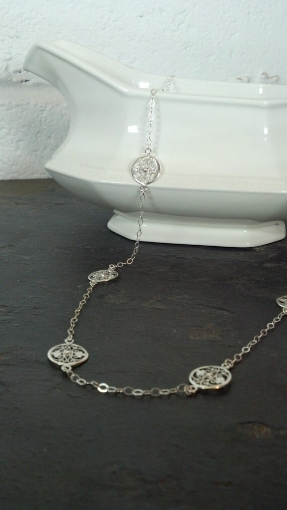 Long Sterling Silver Filigree Necklace
