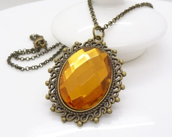 Golden brown necklace, Gothic necklace, Mustard brown Crystal necklace, Antique bronze necklace