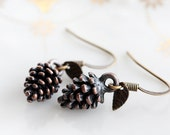 Brown Pine Cone Earrings Woodland Pinecone Tiny Leaf Earrings Forest Country Natural Minimal Jewelry - E246