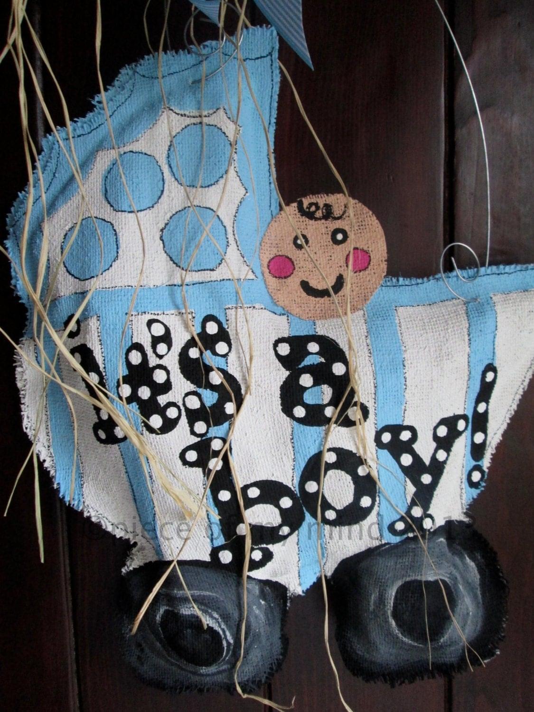 It 39 s a boy burlap door hanging door decoration by for Baby boy door decoration