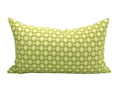 Schumacher Betwixt lumbar pillow cover in Chartreuse/Ivory