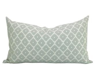 Schumacher Ziggurat lumbar pillow cover in Mineral