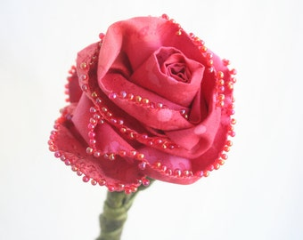 Everlasting Fabric Flower, Fiber Art Sculpture Single Stem Rose, Coral Pink Valentine's Day Bouquet, Eco Friendly Bridal Wedding Bouquet,