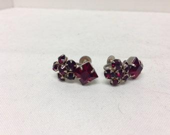 Red Rhinestone Screwback Earrings Vintage Screwback Earrings Valentines Day