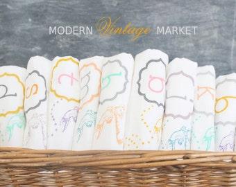 "6 ""JEWELED BIRD"" Tea Towels- Monogrammed Towel - Floursack Kitchen Towels -  Bird   - Dish Towel - Tea Towel,eco friendly"