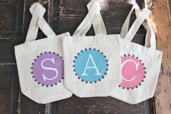"4 - ""CLASSIC MINI TOTES"" - Personalized Flower Girl bags -gifts -Wedding- Bridesmaids - Monogrammed Tote Bags - -by Modern Vintage Market"