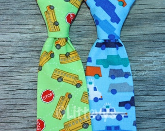 Boys necktie, cars necktie, boys birthday present, blue necktie, toddler neck tie, baby boy tie, ties for kids, school bus, back to school