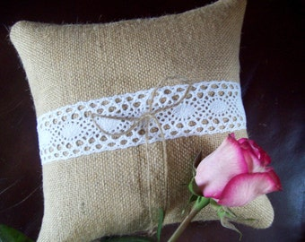 Ring Bearer Pillow with Burlap and Lace, Rustic Wedding Decor, Country Wedding, Barn Wedding, Ring Pillow with Vintage Crocheted Lace Detail