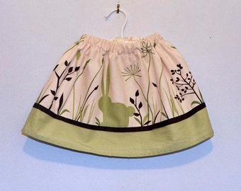 Easter Skirt...Bunny skirt in green, brown, ivory...12m,18m,2t,3t,4t... eco-friendly, upcycled