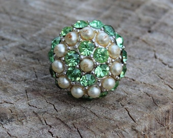 Vintage Pearl and Light Green Rhinestone Cocktail Ring