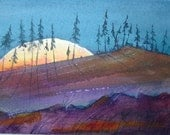 original landscape watercolor full moon rising