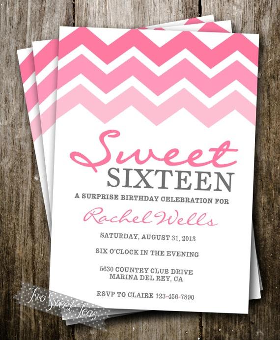 Pink Ombre Invitation Chevron Girly Teen Tween Sweet by 2SweetTeas