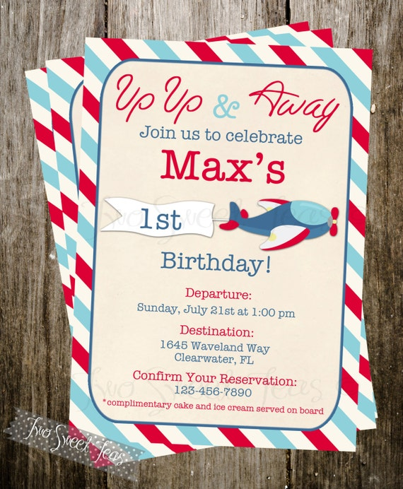 Vintage Airplane Party Printables Airplane Birthday Airplane: Airplane Vintage Invitation Plane Pilot Aviation By 2SweetTeas