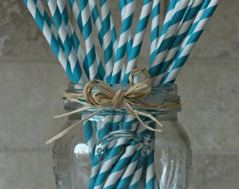 25 Turquoise and White Striped Paper Party Straws