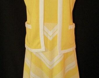 vintage 60s yellow white chevron stripe swingy dress jacket set b34 s mod scooter girl mad men