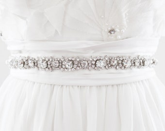 SELMA - Rhinestone Beaded Bridal Sash, Wedding Belt