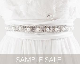 SAMPLE SALE - MIKEA Rhinestone Beaded Wedding Sash in Light Ivory, Free Shipping