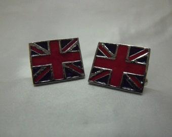 Mens Cufflinks,  Silver Enameled British Flags,  Mens Accessories Handmade