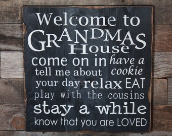 Large Wood Sign - Welcome to Grandmas House - Subway Sign