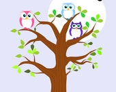 Finger thumb print family tree DIY Digital download mom Dad Birthday gift Wall art Print bird owl card baby keepsake