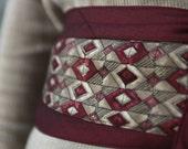 Garnet - Silk Necktie Upcycled Obi Corset Belt Burgundy Red