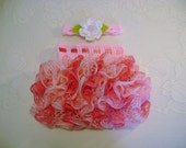 READY TO SHIP - 3 to 6 Month Size - Pink Varigated Ballerina Ruffled Skirt and Headband - Photo Prop