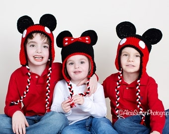 Mickey or Minnie Mouse Crochet Hat - Photo Prop - Available in Any Size or Color Combination