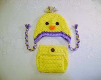 Spring Chick Crocheted Hat and Diaper Cover - Photo Prop - Available in Newborn to 24 Months Size - Any Color Combination