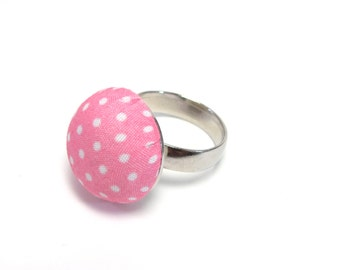 Pink Polka Dot Ring - Preppy Summer Jewelry - Pink and White Accessory - 1950s Retro - Rockabilly
