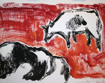 """Vintage Art Cow Art Monotype, Paint on Paper, Original Art, Monoprint, 13"""" x 18-1/2"""" Cows"""